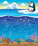 Game For Kids. Vector Illustration of Education Maze Game Penguin Fishing Royalty Free Stock Photos