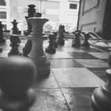 A game of kings. A chess game in black and white Stock Image