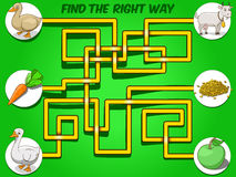 Game labyrinth find a way animals to food vector Stock Photos