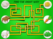 Game labyrinth find a way animals to food vector Stock Image