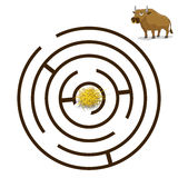 Game labyrinth find a way bull vector illustration Stock Images