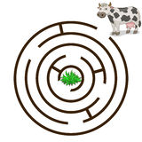 Game labyrinth find a way cow vector illustration Stock Photos