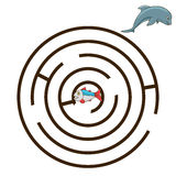 Game labyrinth find a way dolphin vector Stock Images