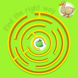 Game labyrinth find a way duck vector. Illustration Stock Image