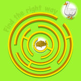 Game labyrinth find a way goose vector. Illustration Royalty Free Stock Photos
