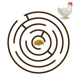 Game labyrinth find a way hen chicken vector Stock Image