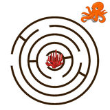 Game labyrinth find a way octopus vector Stock Photography