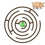 Game labyrinth find a way pig vector Stock Photo