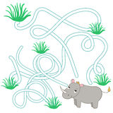 Game labyrinth find a way rhino vector. Game labyrinth find a way rhino cartoon hand drawn doodle vector illustration Royalty Free Illustration
