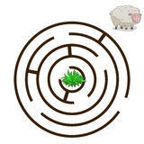 Game labyrinth find a way sheep vector Royalty Free Stock Photos
