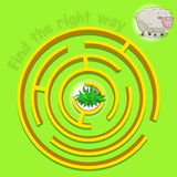 Game labyrinth find a way sheep vector. Illustration Stock Image