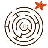 Game labyrinth find a way starfish vector Stock Photography