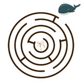 Game labyrinth find a way whale vector Royalty Free Stock Image