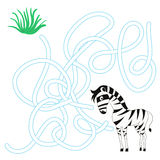 Game labyrinth find a way zebra vector Stock Image
