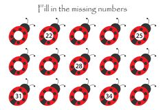 Game with ladybugs for children, fill in the missing numbers, middle level, education game for kids, school worksheet activity,. Task for the development of royalty free illustration