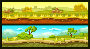Game Landscapes Horizontal Banners. With ground and sky trees and plants stones and hills isolated vector illustration Stock Images