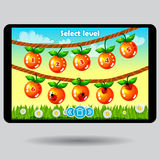 Game level selection fruit ui screen Stock Photography