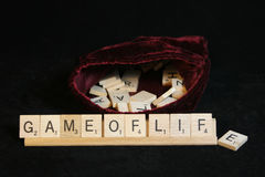 Game of Life. Spelled out in scrabble tiles Royalty Free Stock Image