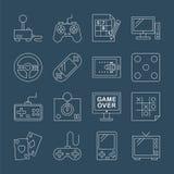 Game line icon set Royalty Free Stock Photo