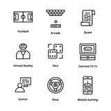 Game Line icons Royalty Free Stock Photography