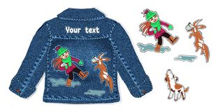 A game of a little girl and a fun dog in the snow. children`s hand-drawn animals and a girl in cartoon style for embroidery, vector illustration