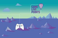 Game live points, virtual gaming worlds vector illustration
