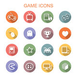 Game long shadow icons. Flat vector symbols Royalty Free Stock Photos