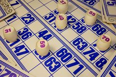 Game, lotto, cards, barrels with red numbers royalty free stock image