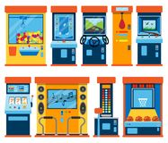 Game machine arcade vector gambling games in casino gamesome gambler or gamer bet in gaming computer machinery gameplay. Claw a toy or play old console set Stock Images