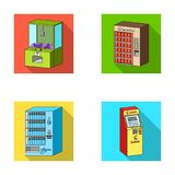A game machine, a ticket sales terminal, an automaton for selling aqua and chocolate. Terminals set collection icons in Royalty Free Stock Photography