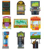 Game machine vector arcade gambling games hunting fishing boxing and dancing where gamesome gambler or gamer play in. Gaming computer machinery illustration Royalty Free Stock Photo