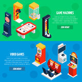 Game Machines 2 Isometric Banners Set Stock Images