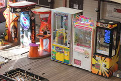 Game machines. Open-air amusement arcade. commercial establishment Royalty Free Stock Image