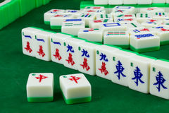 Game of Mahjong. About to win a game of mahjong with a big hand tiles after drew last tile from a deck and made a complete set in hand Stock Photo