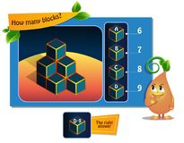 Game many blocks. Educational game for kids, puzzle. development of spatial thinking in children suitable both for kids and adults. Task game How many blocks vector illustration