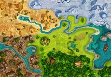 Game Map, Game Board, Top View. Medieval Style. Video Game`s Digital CG Artwork, Colorful Concept Illustration, Realistic Cartoon Style Background royalty free illustration