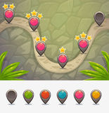 Game map with level rank indicators. Vector illustration Stock Photography
