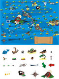 Game - map of treasures. Collect all treasures and win this game Stock Photos