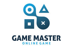 Game master logo. Logo design of game tools and elements buttons Royalty Free Stock Image