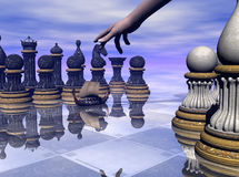 Game of the Masters. Chess, a game of masters.  Chess pieces are reflected in the waters as a ship sails quickly by. 3D models, computer generated by Bryce Stock Photography