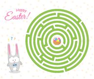 Game a maze for children The Easter cute hare is looking for a way through the labyrinth to the basket with Easter eggs A puzzle vector illustration