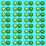 Game menu icons ice buttons set. Game menu interface icons ice buttons set Stock Photos