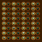 Game menu icons steampunk buttons set Stock Photo