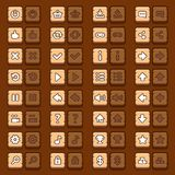 Game menu icons wooden buttons set Royalty Free Stock Images