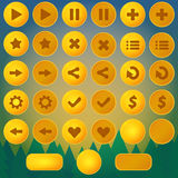 Game menu vector yellow ui buttons Royalty Free Stock Image