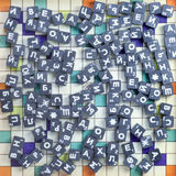 Game with metal cubes. Metal cubes with letters laid on the table Royalty Free Stock Image