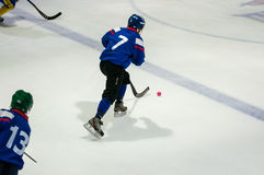 Game in Mini hockey with the ball. Royalty Free Stock Photo