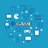 Game minimal outline icons Royalty Free Stock Image