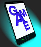 Game On Mobile Shows Online Gaming Or Gambling Royalty Free Stock Photos