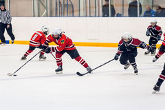 Game moment of children ice-hockey teams Royalty Free Stock Photo